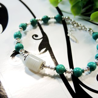 """Stone of an annual ring"" simple art onyx turquoise 925 sterling silver bracelet"