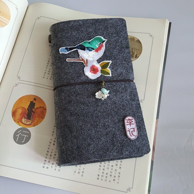 New Limited Time Offer 50% Off Customizable Embroidery Embroidery Birdie Diary Portable Player Travel Notepad A6 Loose Chinese Retro Handmade Notebook Felt Book Birthday Gift Graduation Gift
