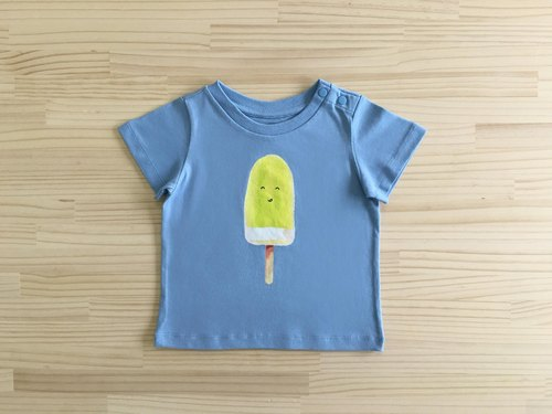 gujui eat ice - organic cotton short-sleeved shirt - blue