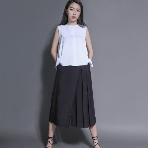 SU: MI said Madame Curie Marie Curie asymmetrical oblique wide pants _7SF206_ black