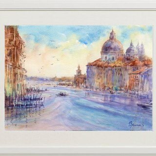 Watercolor painting Venice canal 20