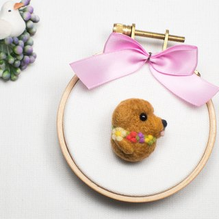Needle-felted Flower Poodle (brooch/key ring/phone strap)