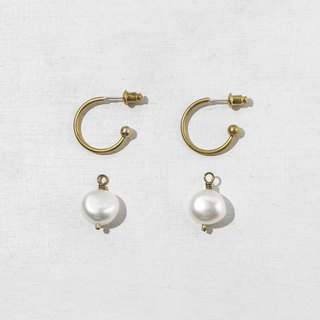 Pearl Brass Hoop Earrings - 925 Sterling Silver Needles