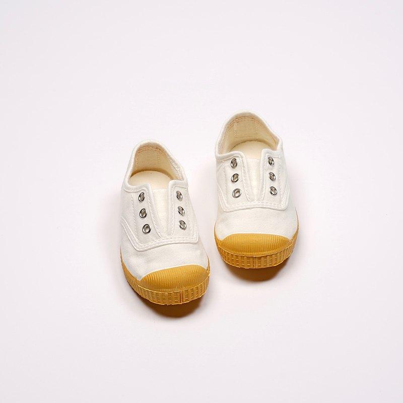 西班牙帆布鞋 CIENTA J70997 05 白色 黃底 經典布料 童鞋