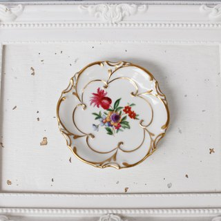 [Good day fetish] German antique ceramic flower gold line platter. Decoration. Jewelry plate