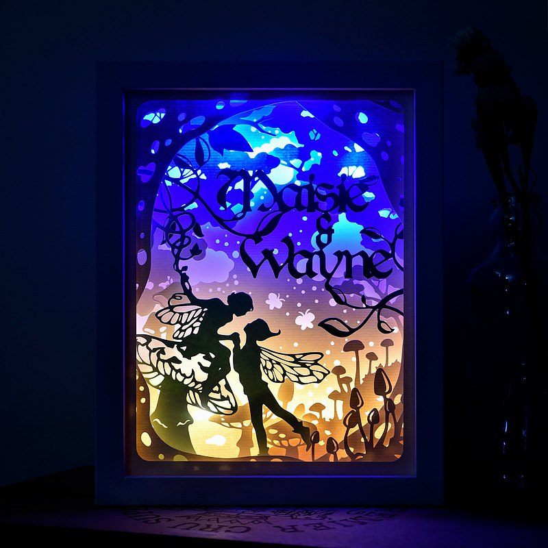 Handmade Customized Personalized LED Shadow Box Lamp, Fairy Theme