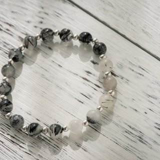 [Woody'sHandmade] Avoid evil. Black hair crystal single layer bracelet.