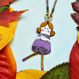 Copy Girl and cat necklace, Cat fan necklace, Cat necklace, Enamel necklace,