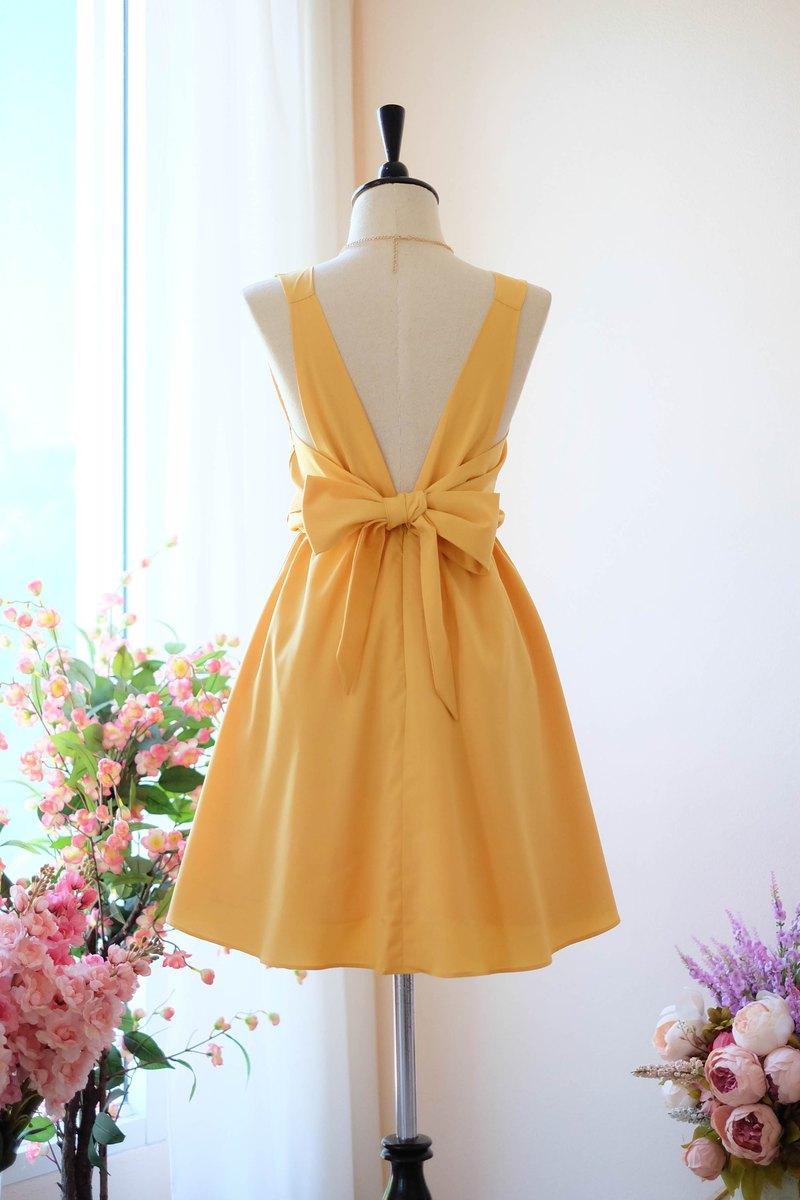 芥末黃色連衣裙伴娘禮服露背派對雞尾酒短禮服