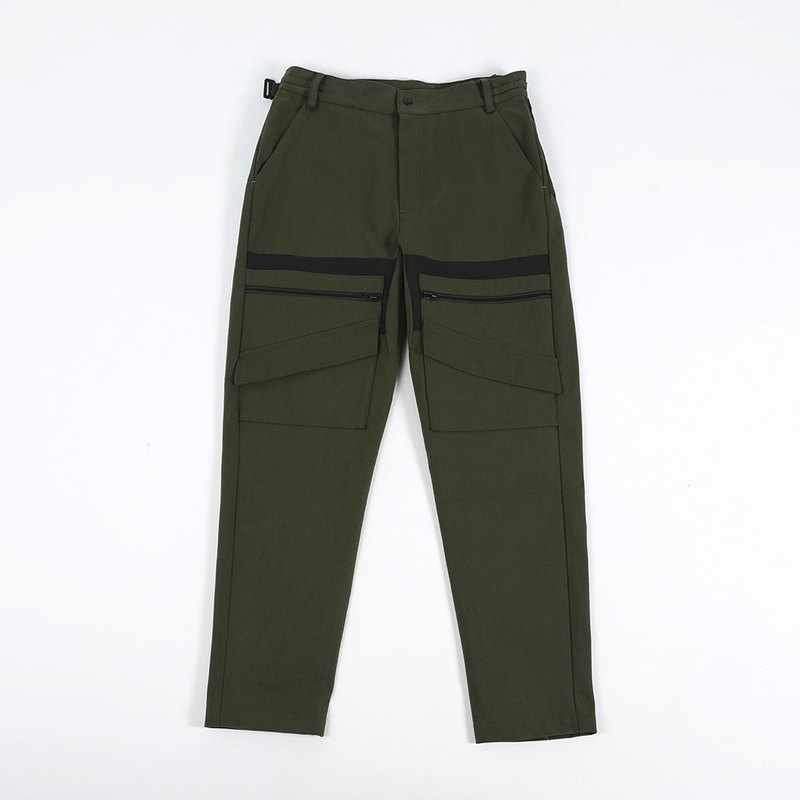 Different Material Splicing Pants-Army Green