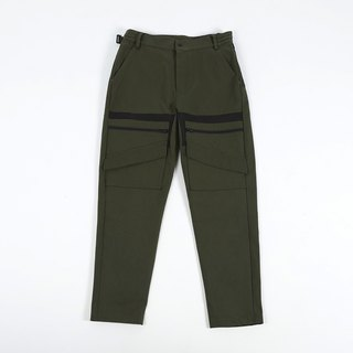 Different material cut pants - Army Green