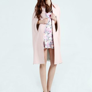 Pastel Pink Midi Tailored Cape Blazer