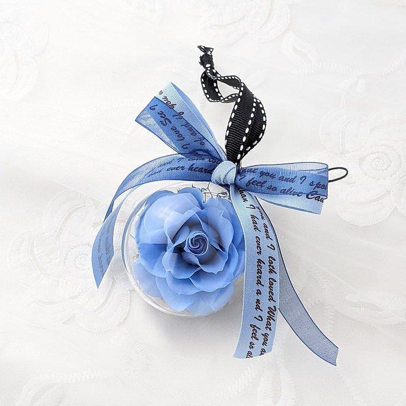 Blue Rose Ball Charm - Blue Ocean Eternal Flower Ball / No Withered Ball / Dry Flower Ball with Card