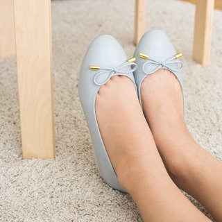 VICTORIA; Everyday Ballerina, 100% Genuine Leather, Gray Basic ballet bow arch support