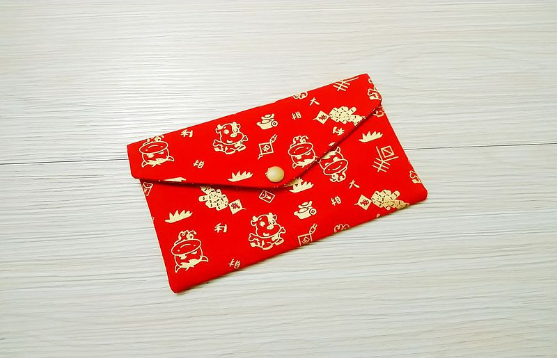 Taurus year red envelope bag passbook bag cash storage bag hot stamping