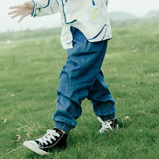 Denim blue boy cotton soft bundle mouth Daning small feet jeans elastic loose casual trousers