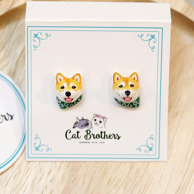 Shiba Inu dog wearing the green scarf earrings, Shiba Inu dog earrings