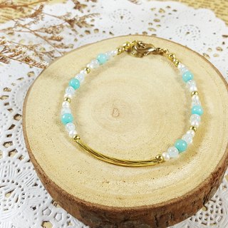 Courage, self-confidence _ bracelet // Tianhe stone sea sapphire pearl brass