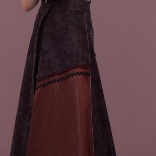 ENVOL AVEC NING denim mixed color A-line dress - black coffee