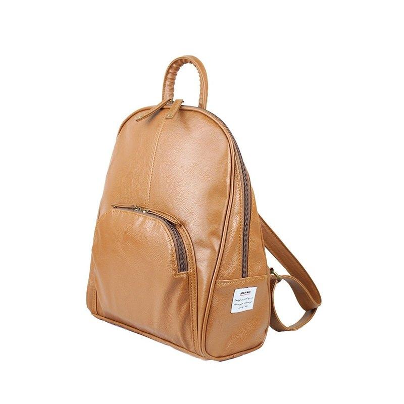 AMINAH-棕色典雅後背包【am-0299】