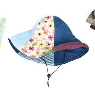Maverick Village handmade double-sided hat big hat 檐 visor big flower [Pink flower] HB-28