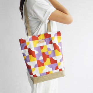 studio chiia - Original Pattern Design Tote- Tile  Red