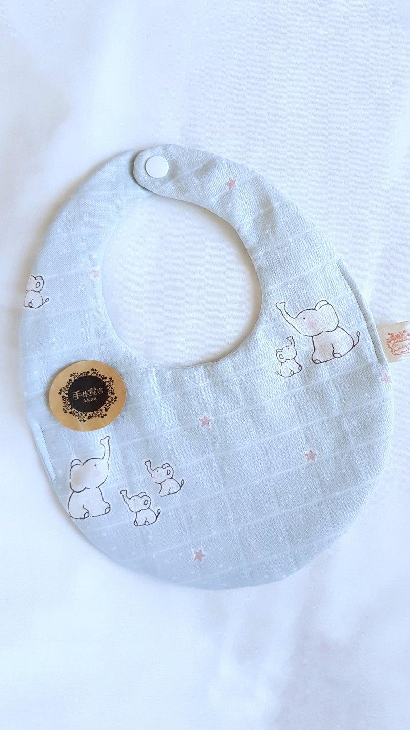 親子象-八層紗100%cotton雙面蛋型圍兜.口水巾