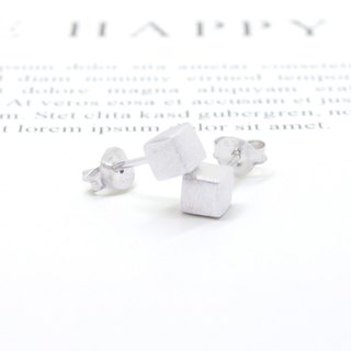 3: am Silver - 925 Silver Textured Cube Earrings 925 Sterling Silver Cube Earrings
