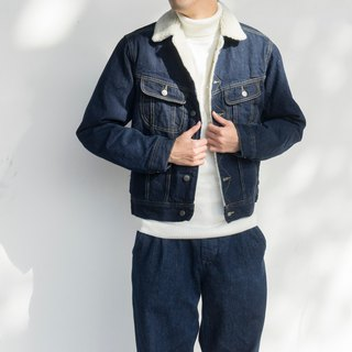 Winter warm day with American retro thickening lambskin denim jacket denim jacket