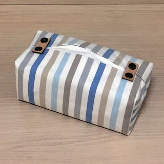 Bagged removable paper cover _ blue striped leather decoration