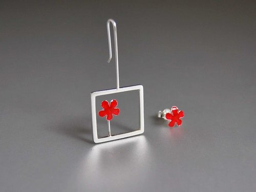 [Red] color cloisonne enamel earrings earrings asymmetric tilted simple cute little yellow flowers Flowers series wind Sen female creative birthday holiday gift E016 | Greek original handmade jewelry This and That