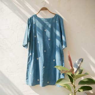 polka dot tunic | handwoven indigo dyed cotton |