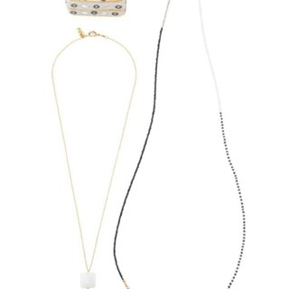 Earth Tree Fair Trade fair trade -- Beaded Square Glass Necklace (White)