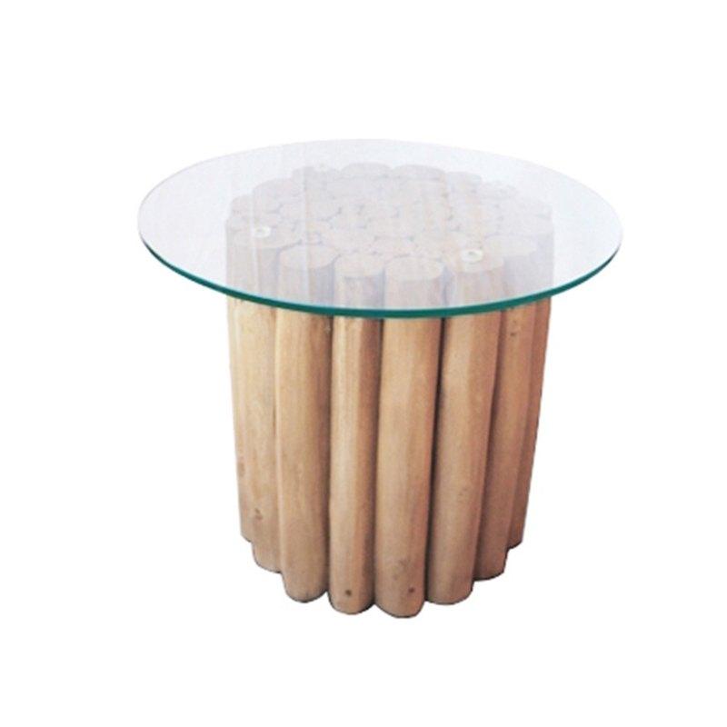 柚木粗枝玻璃邊桌END Table