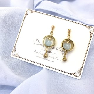 Spinning planet Aquamarine Earrings