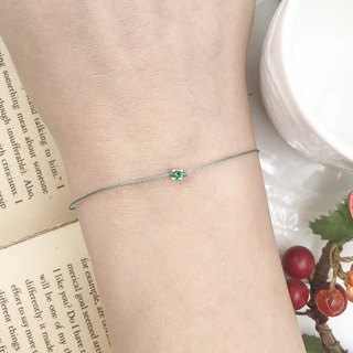 925 sterling silver ultra small 2.8mm four claw drill green diamond red line bracelet mini temperament mint green