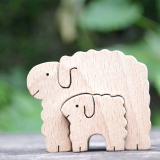 Sheep and goats. Handmade small wood
