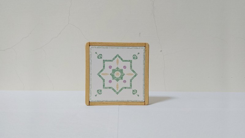 [Bamboo and wood] // absorbing coaster // fresh green