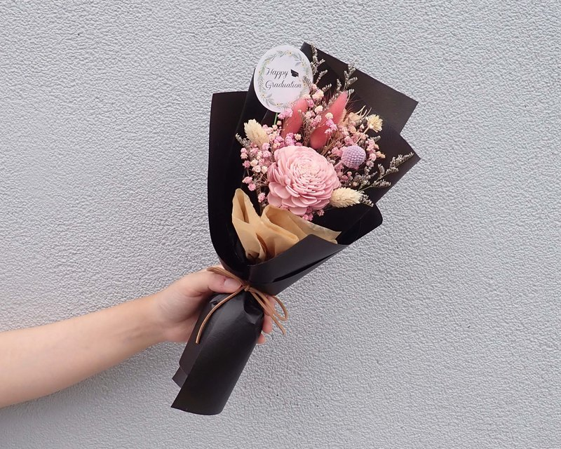 | The most | Rose fragrant flower. Gypsophila. Rabbittail. Dry flowers. Graduation bouquet. Pink