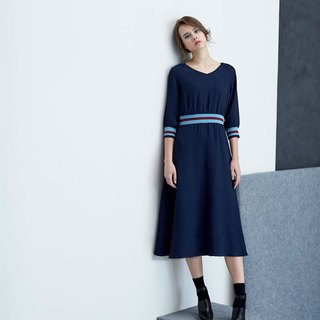 AEVEA contrast ribbed woven dress