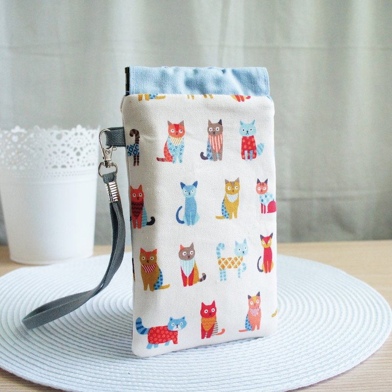 Lovely [Japanese cloth] patchwork cat mobile phone bag, pencil case, glasses bag, 5.5 inch mobile phone