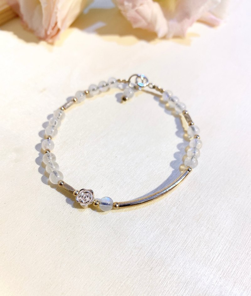 Ops Moonstone Gemstone Lucky Unique Silver Simple Bracelet