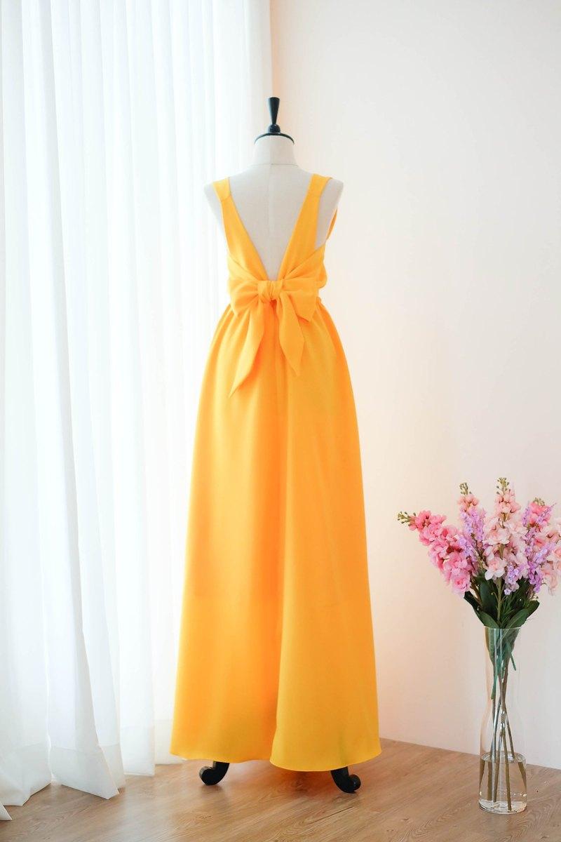 熱黃色伴娘禮服露背派對雞尾酒禮服