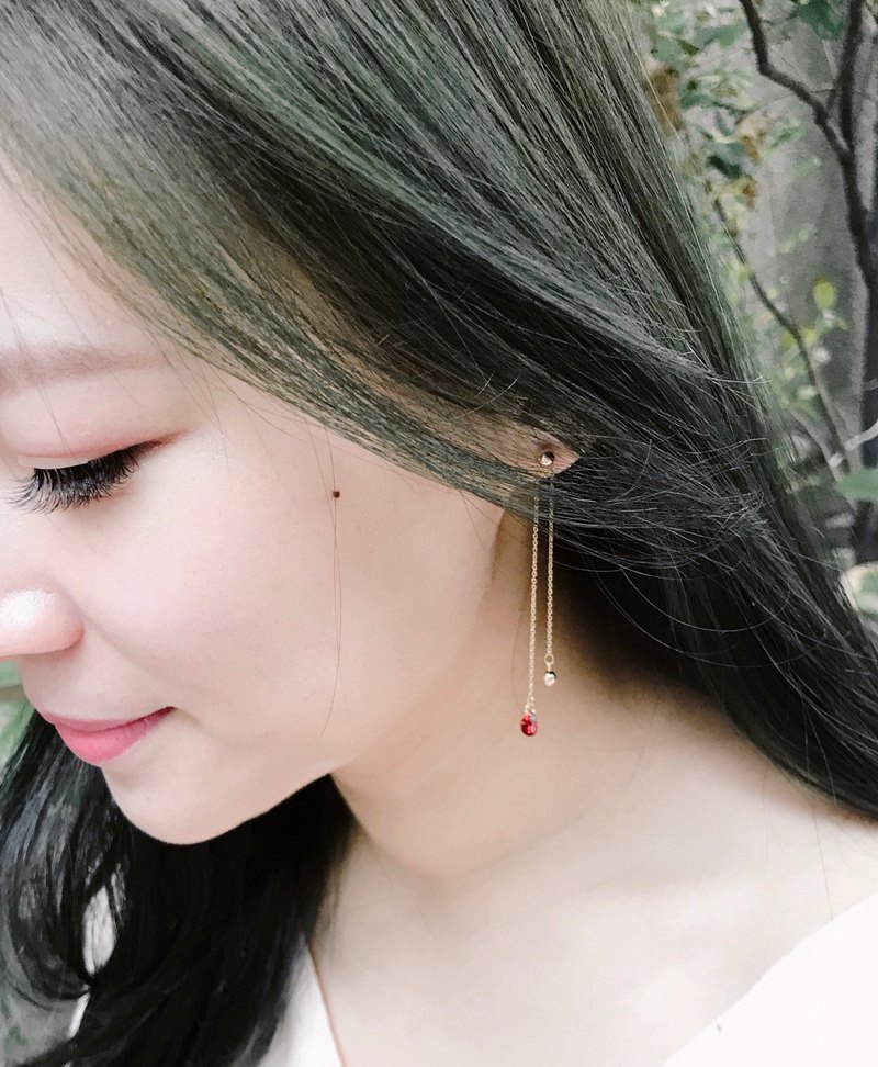 Long love 14k gold pomegranate red love zircon earrings can be adjusted left and right length