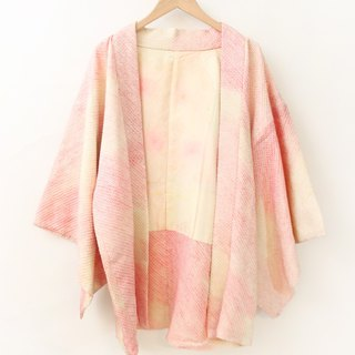 Vintage Japanese made pink beige and wind print vintage feather kimono jacket blouse cardigan Kimono
