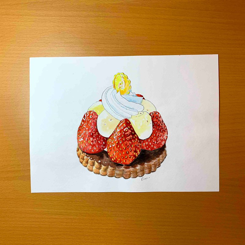 Watercolor hand-painted original paintings - Strawberry Pie