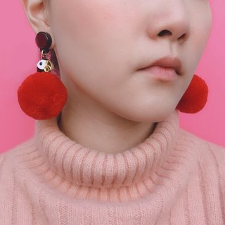 Scarlet Cockatoo Pom Pom Earrings