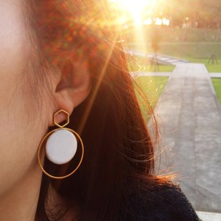 White Stone Geometric Earrings/ White - Handmade-Silver Ear Stud