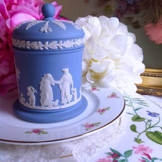 British bone china Wedgwood jasper blue jasper floating dancing goddess storage jar candy jar tea can