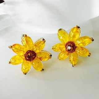 Sunflower earrings~sunflower~Amber~ amber -